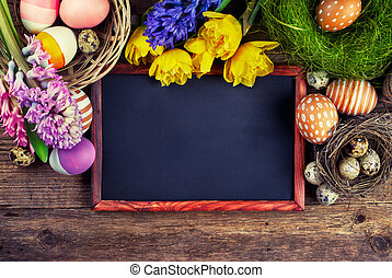 Chalk board and Easter decorations