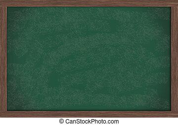 Chalk Board - A blank green chalkboard with a wooden frame,...