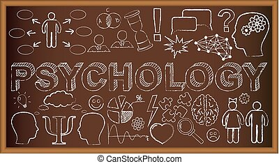 Chalk board doodle with symbols on psychology. Vector illustration. Set of education and learning doodles