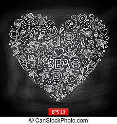 Chalk board I love Sea in the form of heart