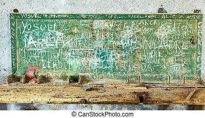 chalk board in abandoned factory