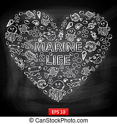 Chalk board Marine Life in the form of heart,themed design...