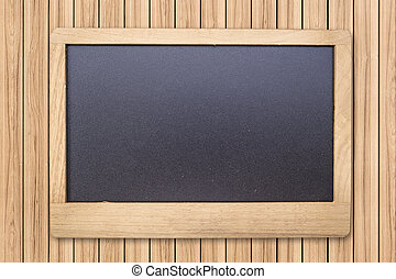 Chalk board on wood plank background and texture