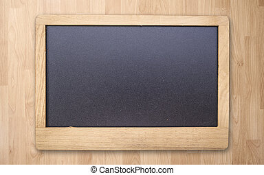 Chalk board on wood plank tile texture background