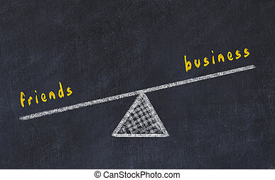 Chalk board sketch illustration. Concept of balance between friends and business