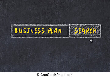 Chalk board sketch of search engine. Concept of looking for business plan