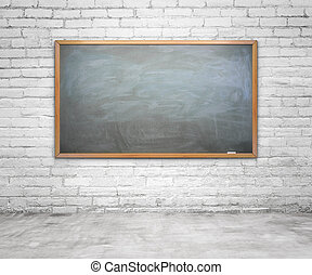 chalk board with chalk traces on brick wall