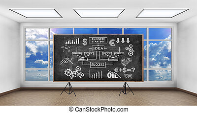 chalk board with drawing business concep