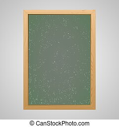 Chalk board with wooden frame on a gray background