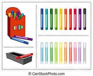 Chalk Box, 20 colors. Eraser - Box of chalk, 20 colors...