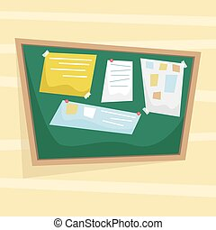 Chalk Bulletin Board with papers attached to the tape. Flat vector illustration