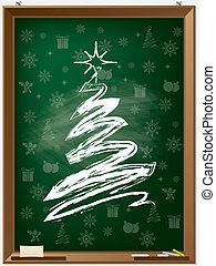 Chalk christmas tree on chalkboard - Chalk christmas tree on...