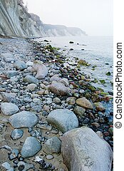 chalk cliff rocks of Rugen isle at National park Jasmund (Mecklenburg-Vorpommern, Germany)