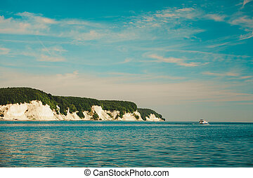 Chalk cliff rocks of Rugen isle at Sassnitz Germany