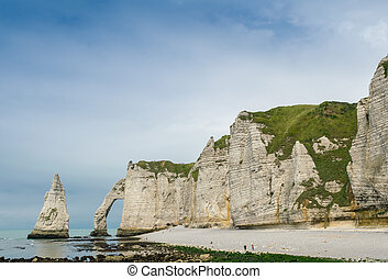 Chalk cliffs at Cote d'Albatre. Etretat, France.