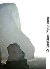 Chalk cliffs at Splash Point, Seaford, on a misty morning