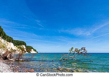 Chalk cliffs at the Baltic Sea coast on the island Ruegen, Germany.