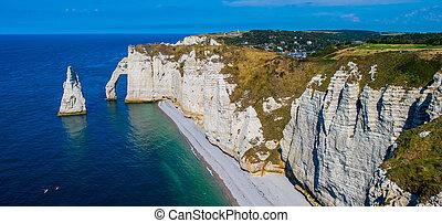 Chalk cliffs Cote d'Albatre Etretat Normandie France, Europe