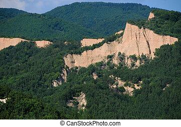 Chalk cliffs called pyramids in Blagoevgrad province of Bulgaria near the town of Melnik