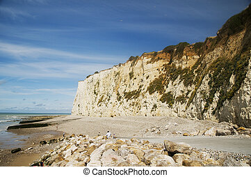 chalk cliffs at the coast from Normandy France