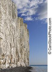 Seen from a shingle coastline below white chalk cliffs, sea nad blue sky.