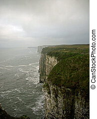 Chalk cliffs with sea spray - High chalk cliffs with sea and...