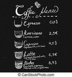 Chalk coffee menu lettering