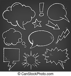 Chalk Comic bubbles and elements on a blackboard - A vector...