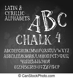 Chalk cyrillic and latin alphabets