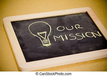 chalk design with lightbulb, business mission