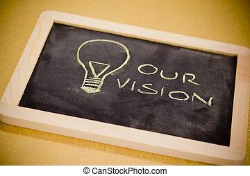 chalk design with lightbulb, business vision