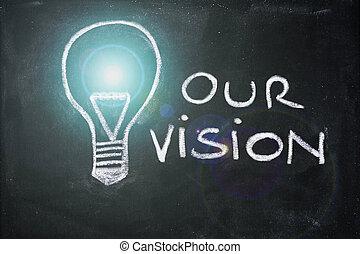 lighbulb and business vision chalk design on blackboard