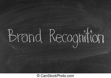 Chalk drawing -BRAND recognition word written on chalkboard