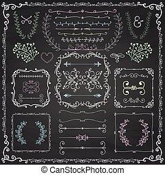 Chalk Drawing Decorative Doodle Design Elements