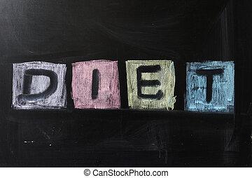"""Chalk drawing - """"Diet"""" word written on chalkboard"""