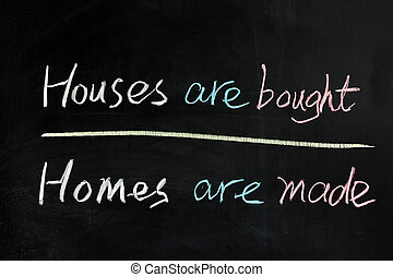 Chalk drawing - House are bought, homes are made