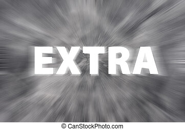 "Chalk drawing of ""Extra"" word written on blurred chalkboard"