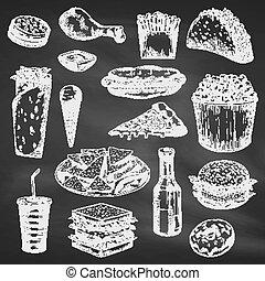 Chalk drawing of fast food on blackboard - Fast american ...