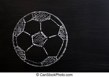 Chalk drawing of Football or soccer on a wooden blackboard