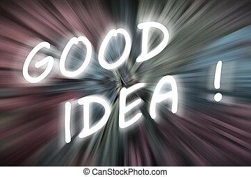 "Chalk drawing of ""Good Idea"" on blurred chalkboard"