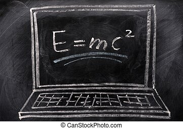 Chalk drawing of Laptop with a formula on the screen