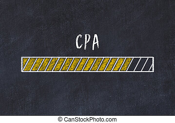 Chalk drawing of loading progress bar with inscription cpa.