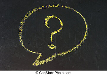 Chalk drawing of speech bubble with question mark