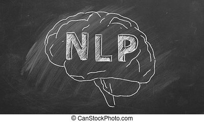 Chalk drawing of the human brain in the blackboard with lettering NLP inside.