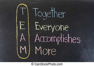 Chalk drawing - TEAM: Together, Everyone, Accomplishes, More