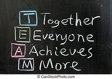 TEAM: Together, Everyone, Achieves, More - Chalk drawing - ...