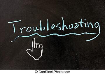 Chalk drawing - Troubleshooting word written on chalkboard