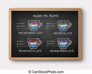 Chalk drawn Iced Matcha tea recipes - Vector illustration of...