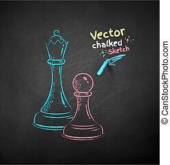 Chalk drawn illustration of chess figures