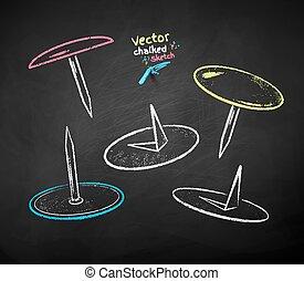 Chalk drawn illustration set of push pins
